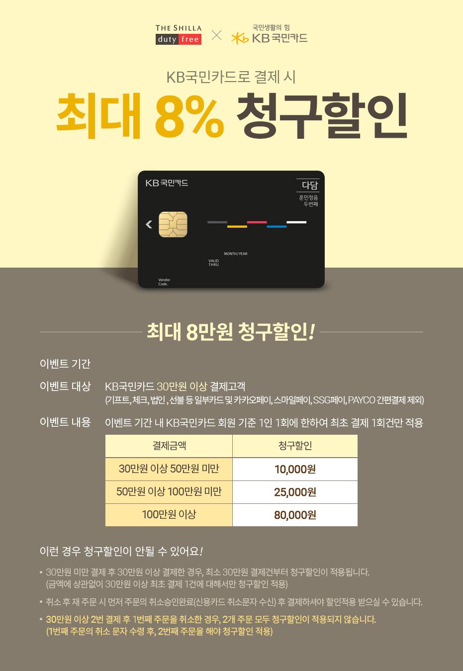 KB국민카드로 결제 시 최대 8% 청구할인