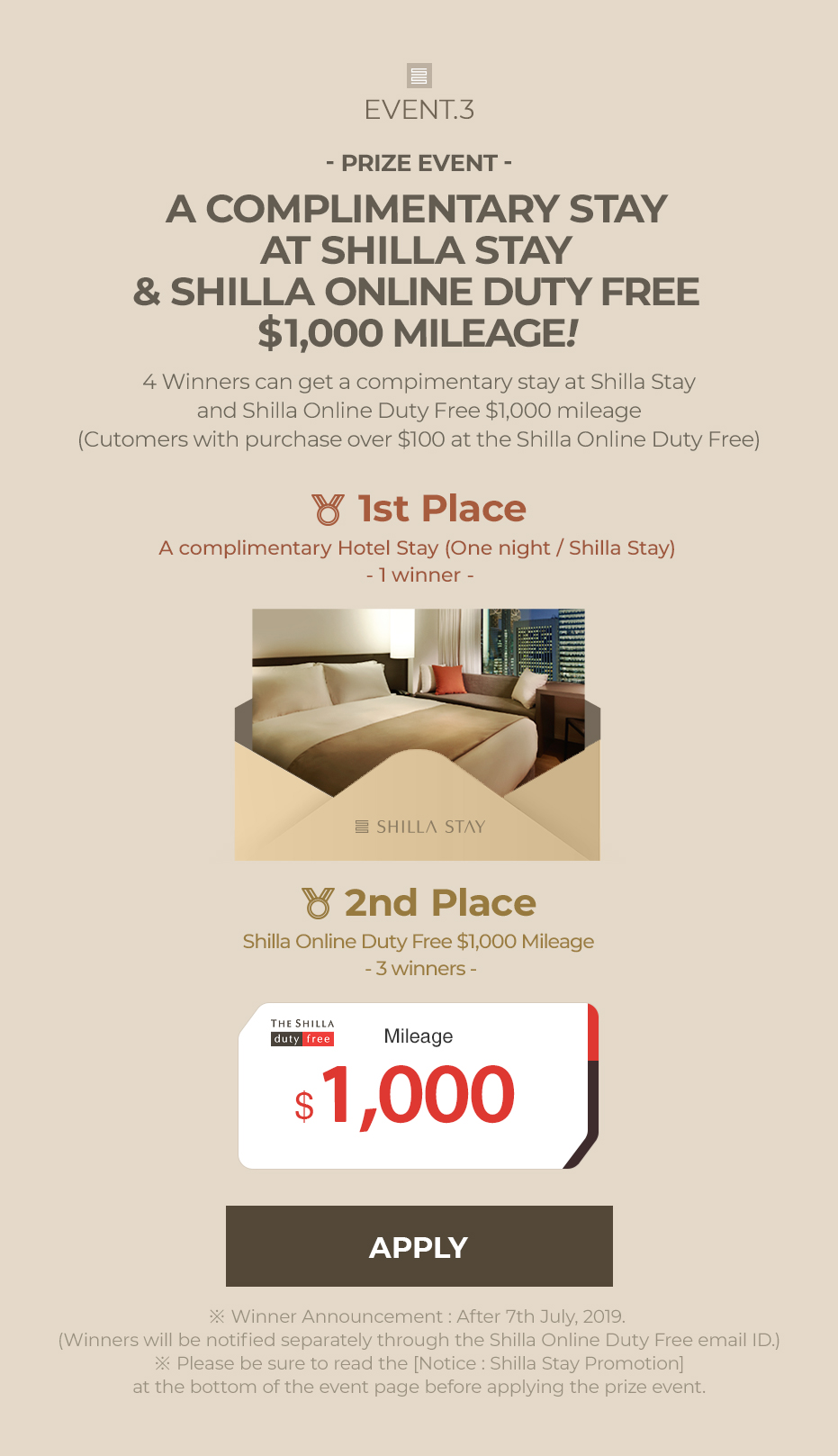 EVENT 3 A COMPLIMENTARY STAY AT SHILLA STAY & SHILLA ONLINE DUTY FREE $1,000 MILEAGE!
