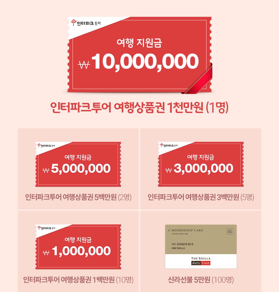 인터파크투어 여행상품권 500만원 (1명)