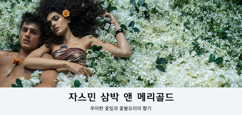 자스민 삼박 앤 메리골드 우아한 꽃잎과 꽃봉오리의 향기