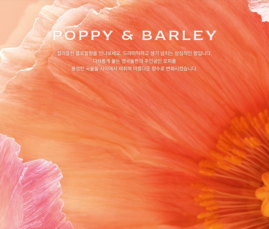 POPPY & BARLEY 컬러풀한 플로럴향을 만나보세요. 드라마틱하고 생기 넘치는 상징적인 향입니다. 다채롭게 물든 영국들판의 주인공인 포피를 풍성한 곡물들 사이에서 채취해 아름다운 향수로 변화시켰습니다.
